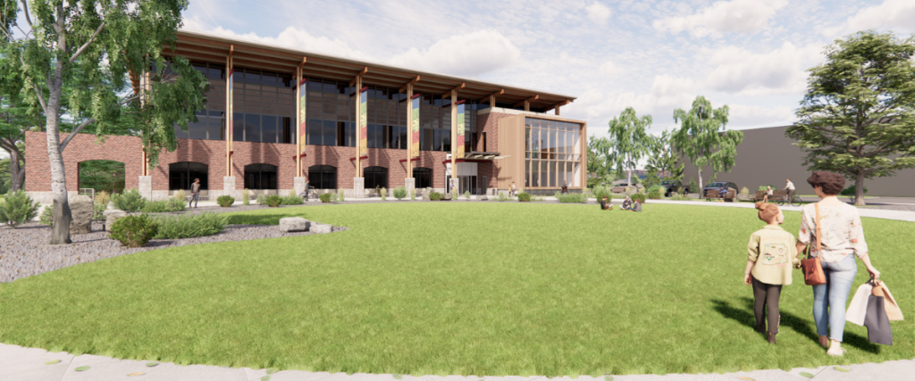 Artist's rendering of the front of the proposed expanded Bozeman Public Library, with a bump-out for larger community meeting rooms.
