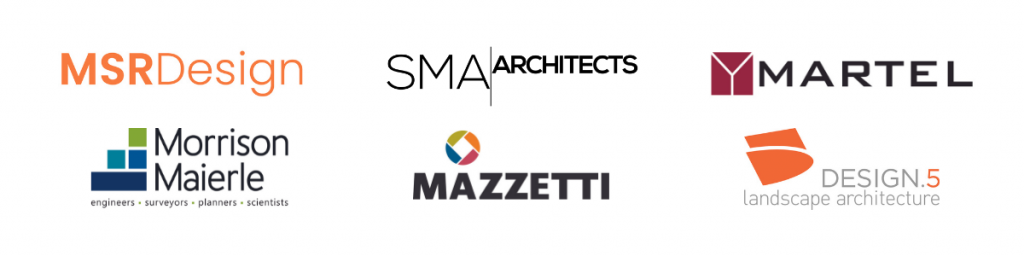 Logos of BPL Forward project partners: MSR Design, SMA Architects, Martel Construction, Morrison Maierle, Mazetti, and Design 5.