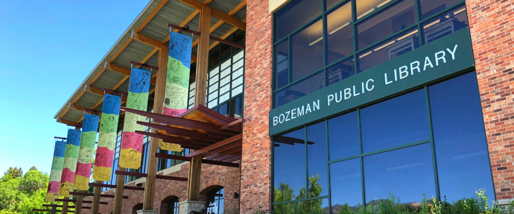 The Bozeman Public Library on a spring afternoon
