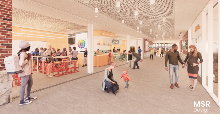 Artists' rendering of an updated entry with hands-on learning lab and larger conference room.