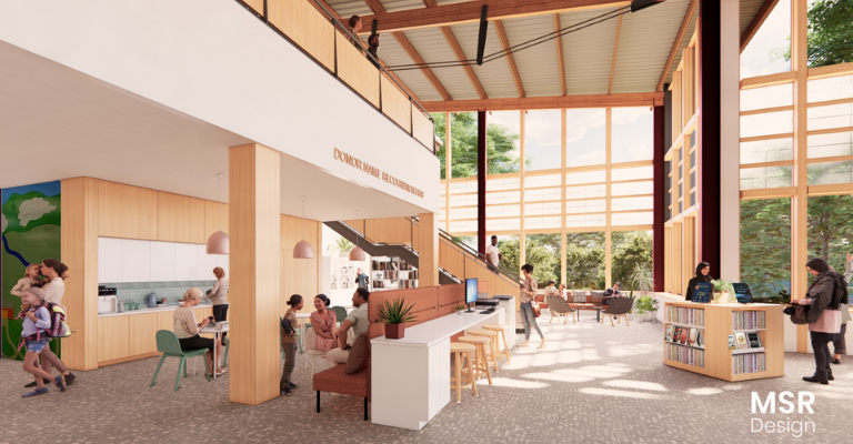 Artist's concept rendering of the proposed central hub with coffee service, used bookstore, and open seating.