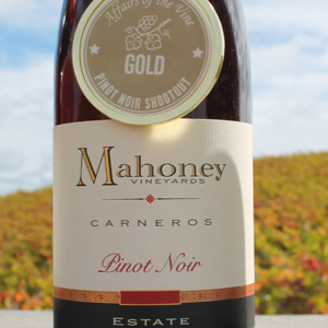 Mahoney Vineyards wine bottle with a gold medal