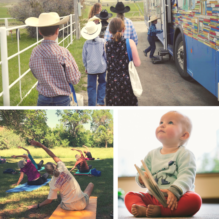 Photo collage of schoolkids climbing aboard the Bookmobile, a Yoga for All class, and a baby with a book